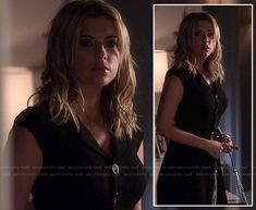 Hanna's black button front dress on Pretty Little Liars.  Outfit details: http://wornontv.net/17950/