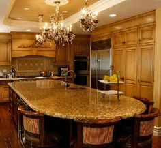 New Kitchen Island With Seating Modern Chandeliers 34 Ideas Large Kitchen Island Designs, Kitchen Island Table, Kitchen Island With Seating, Kitchen Island Lighting, Kitchen Islands, Kitchen Designs, Kitchen Cabinets, Gray Cabinets, Granite Kitchen