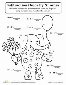 math worksheet : subtraction color by number color the fish!  color by numbers  : Subtracting Numbers Worksheets