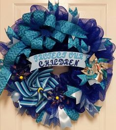 Awareness Wreath, Deco Mesh Wreath, Mesh Wreath, Causes Wreath, Child Abuse Prevention Wreath, Front Door Wreath, Everyday Wreath by TriciasTreasures11 on Etsy