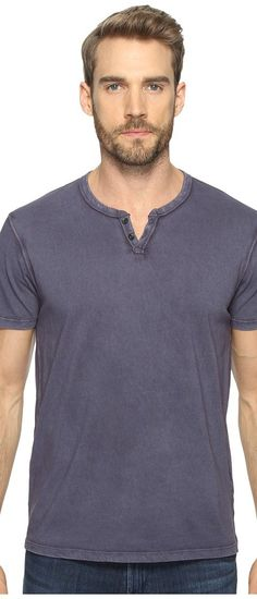 Lucky Brand Button Notch Tee (American Navy) Men's T Shirt - Lucky Brand, Button Notch Tee, 7M61755-410, Apparel Top Shirt, T Shirt, Top, Apparel, Clothes Clothing, Gift, - Street Fashion And Style Ideas