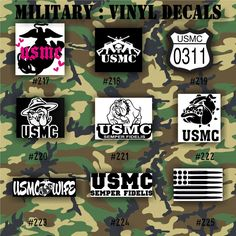 MILITARY Vinyl Decals Army Air Force Navy And Marines - Military window decals for cars