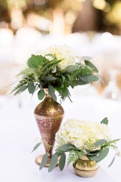 Reception Dinner Table Flowers Greenery White Flowers | Gale-Vineyard-Chico-California-Wedding-Engagement-Photographer