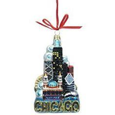 Chicago Christmas Ornament Kurt Adler Glass Ornament, 5-Inch