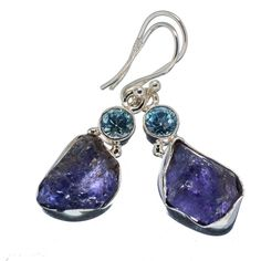 """Ana Silver Co Rough Tanzanite, Blue Topaz 925 Sterling Silver Earrings 1 1/2"""" EARR346964"""