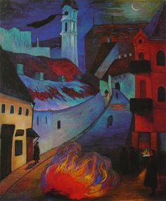 Marianne von Werefkin, Police sentinel in Vilnius, 1914. Marianne von Werefkin,  was a Russian-Swiss Expressionist painter.The BLue Rider was founded by a number of Russian emigrants, including Wassily Kandinsky, Alexej von Jawlensky and a number of native German artists, such as Franz Marc, August Macke and Gabriele Münter. Werefkin began exhibiting together with this group in 1913.