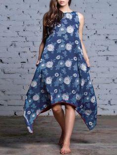 Indigo Asymmetrical Natural Dyed Block Printed Cotton Dress