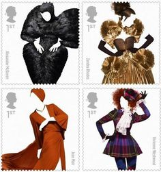 Great Britain's Royal Mail released a collection of 10 stamps in honor of the country's biggest fashion influencers. Photographer Solve Sundsbo shot images of designs from Alexander McQueen, Zandra Rhodes, Vivienne Westwood, Jean Muir & more.