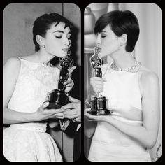 Audrey Hepburn, 1954 and Anne Hathaway, 2013