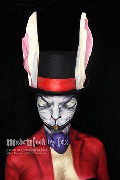 White Rabbit - Alice Madness Returns Body Paint by MadeULookbylex on DeviantArt Amazing Halloween Makeup, Halloween Looks, Halloween Ideas, Halloween Costumes, Halloween Stuff, Fantasy Make Up, Alice Madness Returns, Maquillaje Halloween, White Rabbits