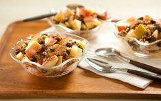 Family Favorite!!  A simple mixture of nuts, raisins and spices makes a delicious topping for Honeycrisp apples.