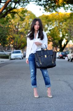 White blazer + white tee + destructed straight jeans