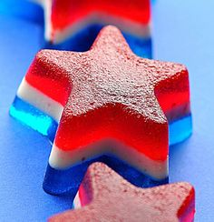 4th of July Jelly Shots--- Made with Cherry, Blue Raspberry, and Lime flavored vodkas