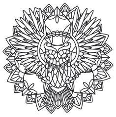 ԑ̮̑♦̮̑ɜ~Mandala para Colorear~ԑ̮̑♦̮̑ɜ Anima - Owl design (UTH6798) from UrbanThreads.com
