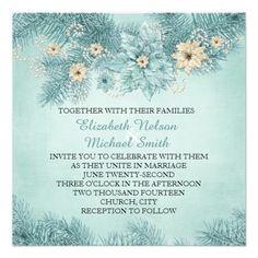 Blue Christmas Dream Wedding Invite