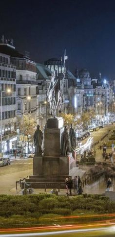 St.Wenceslas (Václav) statue at Wenceslas square at night, Prague, Czechia #Prague #Czechia #VisitCzechia