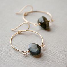 Hinged Labradorite Earrings- labradorite, goldfill.. $55.00, via Etsy.