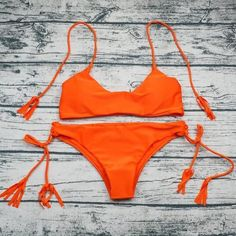 Orange Seamless Tassel Brazilian Bikini Set