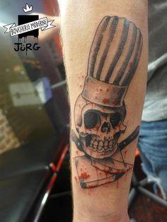 Skull blood kitchen boy chef knives tattoo by JÜRG Poulycrock