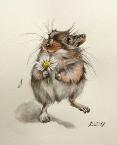Artist: Alena Olt More art: Ta – Heike Bunn - Art ideas Animals Watercolor, Watercolor Paintings, Maus Illustration, Illustrations, Cute Drawings, Animal Drawings, Watercolor Inspiration, Whimsical Art, Animal Paintings