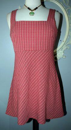 Red white plaid 90's Retro Sundress DRESS Medium M Rockabilly Pin up Festival #Eminance #Sundress #Casual
