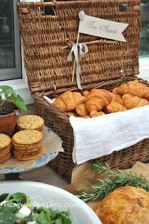 garden lunch -- love the basket with rolls (cute idea)