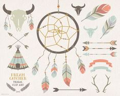 Dream catcher, teepee, feathers, crossed arrows, tribal clipart, antlers, skull, buffalo, bison, vector, clip art, party stationery