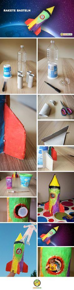 Wie einfach du eine Rakete aus vorhandenem Plastikmüll, Kleister und Farbe basteln kannst, zeigen ich dir in dieser Anleitung.