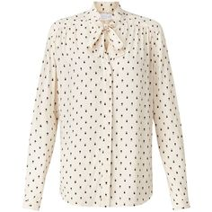 Collection WEEKEND by John Lewis Mini Geo Print Pussybow Blouse, Ivory ($71) ❤ liked on Polyvore featuring tops, blouses, white blouse, long white blouse, tie-neck blouses, bow collar blouse and neck-tie