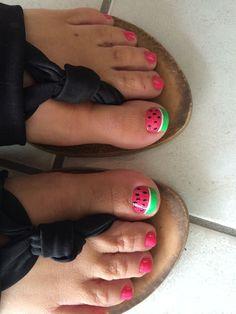 Watermelon toes | Nail art | Pinterest | Toe and Watermelon