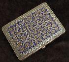 Finest Antique Islamic Indian Kashmiri Enamelled Solid Silver Cigarette Case 19c