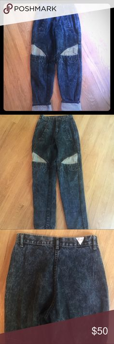 Vintage 80s high waisted acid wash roll up jeans Vintage very 80s very high waisted with an 11 inch rise. Acid washed and can be worn rolled up or down. 28 inch inseam rolled down and 23 rolled up. These are short. Please take your measurements. Size 3/4 with a waist of 12 inches laying flat. Keep in mind they will sit higher up.  Traffic brand and has the triangle traffic label on butt. In good vintage shape. No major wear. Has pockets on middle of leg. Vintage Jeans Ankle & Cropped