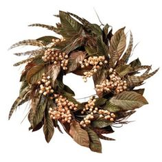Feather and Berry - Silk Wreath 24""