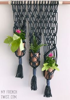 A lovely indigo macrame planter - and this tutorial is easy to follow! #myfrenchtwist #52actsofcreating #macrame Diy Macrame Wall Hanging, Macrame Plant Hanger Patterns, Free Macrame Patterns, Macrame Art, Macrame Projects, Macrame Knots, Hanging Plant, Micro Macrame, Plant Wall