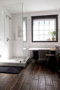 Wood Floor Bathroom Ideas - 12 Wood Floor Bathroom Ideas, 50 Best Bathroom Design Ideas to Get Inspired White Subway Tile Bathroom, Wood Floor Bathroom, Wooden Bathroom, Tile Floor, Subway Tiles, Basement Bathroom, Attic Bathroom, Parisian Bathroom, Bathroom Tubs
