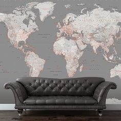 Fashionable World Map wall mural for any room throughout your home. In-vogue Grey's and Orange themed world map mural fits perfectly in any modern lounge, study, bedroom or office. The size of this wall mural is 3.15m wide x 2.32m high.