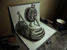 Dibujos en 3D Lápiz en cuadernos Nagai Hideyuki (4)