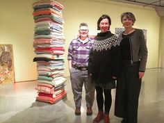 """Shawna Dempse Lorri Millan and Curator Ann MacDonald at the opening of #DMG's """"Material Girls"""". In this photo is Marie Watt's """"Skywalker/Skyscraper (Axis Mundi)"""" 2012 Reclaimed wool blankets and steel 96 x 22 x 22 inches. #Art #Artist #Arts #UofT #DorisMcCarthyGallery #Toronto #Installation #Gallery #Opening"""