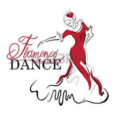 mujeres jovenes bailando: Elementos de baile flamenco. Bosquejo figura del bailarín. Inscripción Baile Flamenco.
