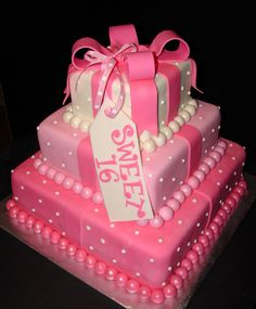 Sweet  Cake Maybe In Red And Black And Gold Instead Sweet - Sweet 16 birthday cakes