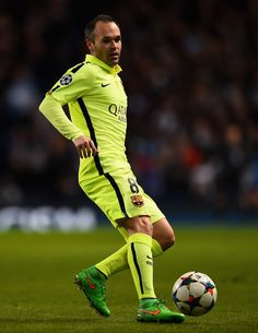 Andres Iniesta of Barcelona in action during the UEFA Champions League Round of 16 match between Manchester City and Barcelona at Etihad Stadium on February 24, 2015 in Manchester, United Kingdom.