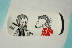 Ceramic tray lumberjack and little red riding hood by krabismos