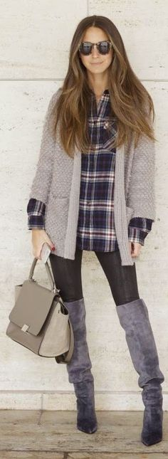 Plaid, oversized sweater and Over-the-knee Boots