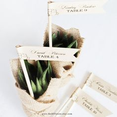 Succulent DIY Escort Card Flags 1 x 3 Flags Text by TheDIYStore
