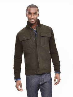 Military Sweater Jacket from #BananaRepublic Gotta have more greens in my closet!