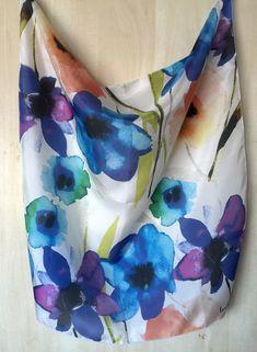 Blue FLOWER Silk Scarf by hannahsmomdesign on Etsy