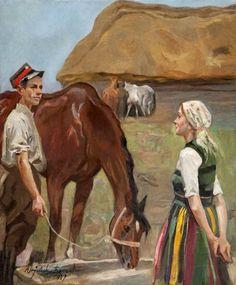 """Painting by Wojciech Kossak, 1937 - """"An Uhlan and a Girl"""" / """"Ułan i dziewczyna"""""""
