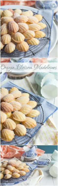 Orange Blossom Madeleines- these were easy to make and like nothing I've ever tasted before! Perfect for a shower or Spring brunch.(Loved,used juice from one orange) Tea Recipes, Baking Recipes, Sweet Recipes, Cookie Recipes, Cupcakes, Cupcake Cakes, Tea Cakes, Köstliche Desserts, Dessert Recipes