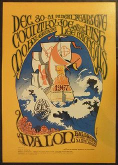 Original second printing concert poster for Country Joe and the Fish, Moby Grape and Lee Michaels at The Avalon Ballroom in San Francisco, CA in 1966. 14 x 20 inches. Artwork by Stanley Mouse and Alton Kelley. FD41-2