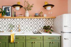 Kitchen Wall Tiles, Kitchen Decor, Kitchen Design, Kitchen Backsplash, Kitchen Ideas, Kitchen Furniture, Green Cabinets, Kitchen Cabinets, Olive Green Kitchen